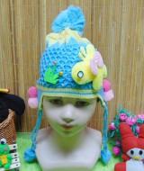 kado bayi topi rajut lembut anak bayi perempuan cewek 0-3th motif kupu 3D biru