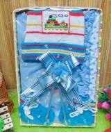 Kado Lahiran Box Paket Kado Bayi Perempuan Cewek Baby Gift Dress Biru Rajut 49 terdiri Dress bayi 0-9bln,topi dan sepatu rajut bayi