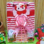 Kado Lahiran Box Paket Kado Bayi Perempuan Cewek Baby Gift Dress Merah Salur n Baby Sock