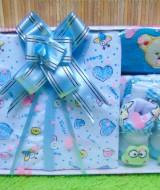 FREE KARTU UCAPAN Kado Lahiran Paket Kado Bayi Newborn Baby Gift Box Full Package Sock White Biru