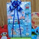 FREE KARTU UCAPAN Kado Lahiran Paket Kado Bayi Newborn Baby Gift Box Wipes plus Setelan Bayi Biru