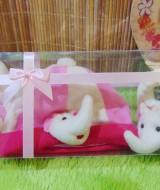 FREE KARTU UCAPAN hadiah lahiran kado bayi baby gift set topi sepatu newborn new born 0-6bulan motif gajah pink