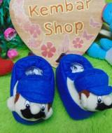 foto utama kado bayi baby gift set sepatu prewalker alas kaki newborn 0-6bulan lembut motif Super Mario Blue