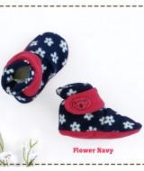 kado sepatu bayi prewalker baby newborn 0-6bulan booties cuddleme motif Flower Navy