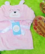 utama - kado bayi selimut topi bulu carter double fleece animal karakter motif baby cewek perempuan