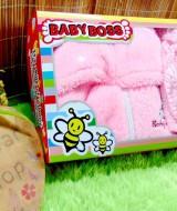 FREE KARTU UCAPAN gift box paket kado bayi cewek perempuan jaket plus topi rajut pink motif random